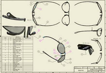 Computer aided design for Bigatmo sunglasses