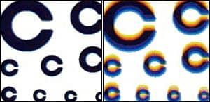 Bigatmo Chromatic Aberration - NXT left, polycarbonate right