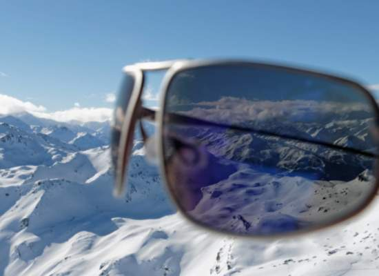 Bigatmo sunglasses showing optical clarity. View of mountain range
