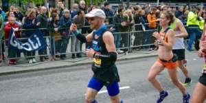 Luke Ashton wearing Bigatmo sunglasses whilst running London Marathon 2015