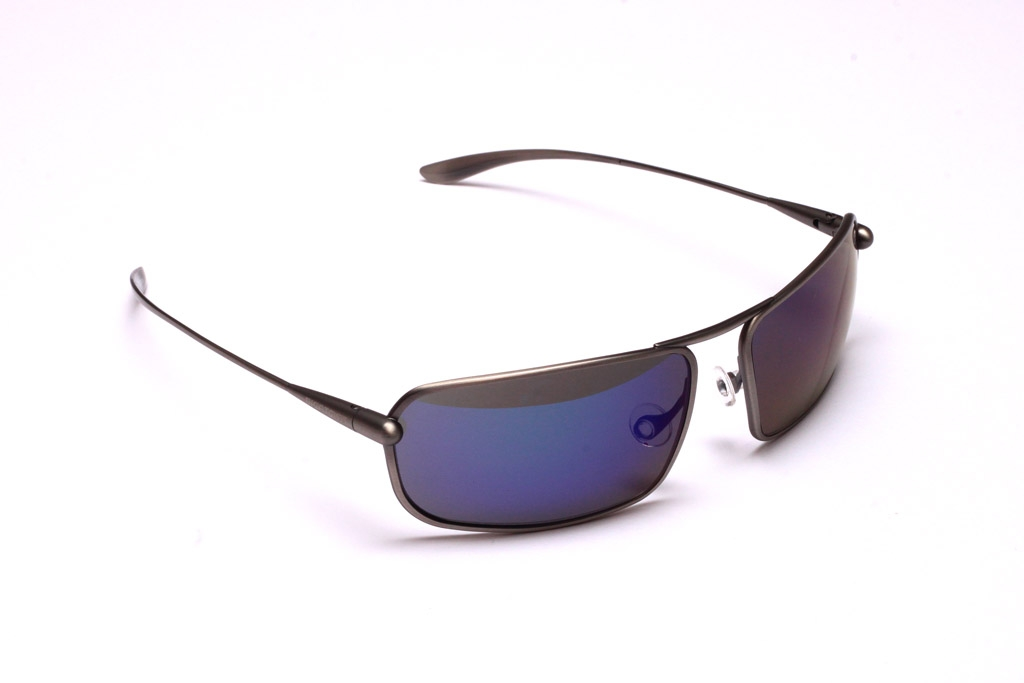 Meso Sunglasses, Natural Titanium Frame and Zeolite (Grey) Polarized HCNB Lenses with an Iridescent Blue Mirror