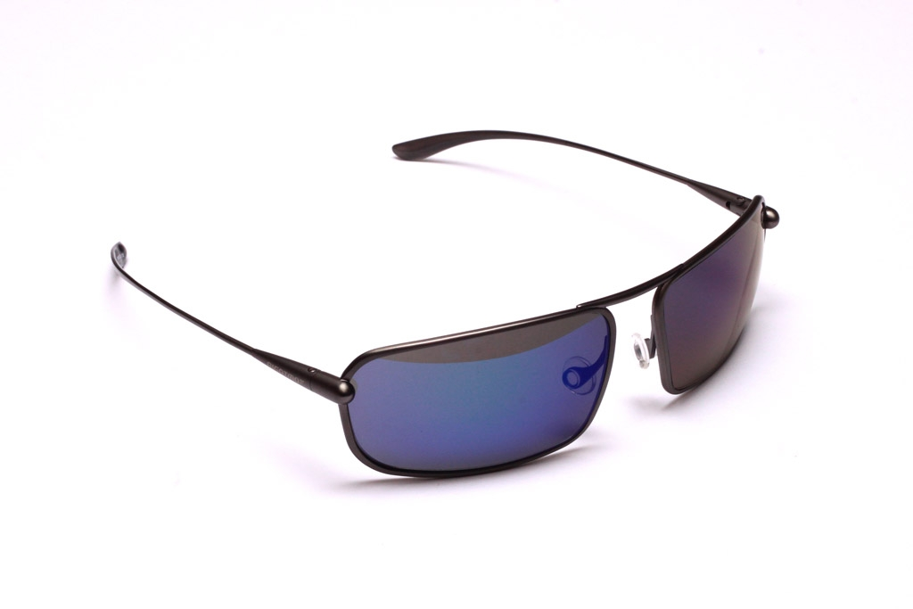 Meso Sunglasses, Gunmetal Titanium Frame and Zeolite (Grey) Polarized HCNB Lenses with an Iridescent Blue Mirror