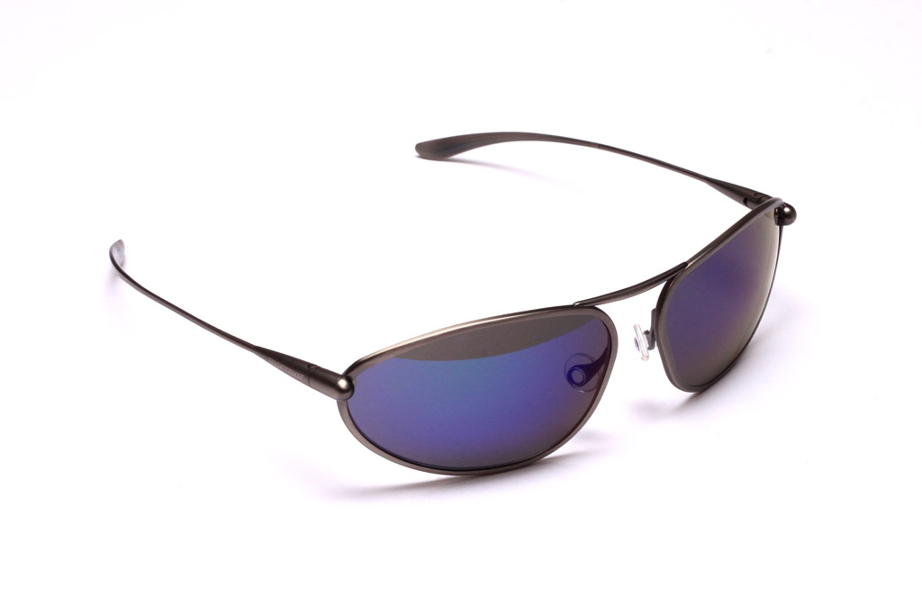 Exo Sunglasses, Natural Titanium Frame and Zeolite (Grey) HCNB Lenses with an Iridescent Blue Mirror