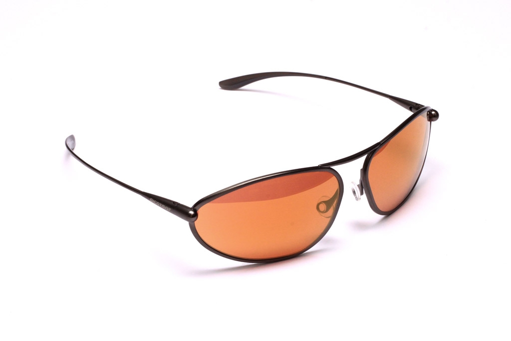 Exo Sunglasses, Gunmetal Titanium Frame and Alutra (Copper/Brown) Photochromic Lenses with a Gold Mirror