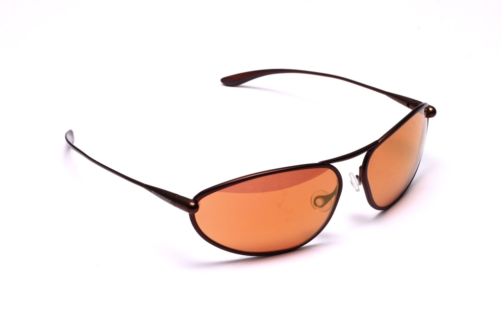 Exo Sunglasses, Brunello Titanium Frame and Alutra (Copper/Brown) Photochromic Lenses with a Gold Mirror