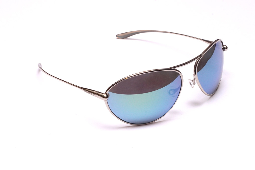 Tropo - Polished Titanium Frame Iridescent White Silver Mirror Grey High-Contrast Sunglasses