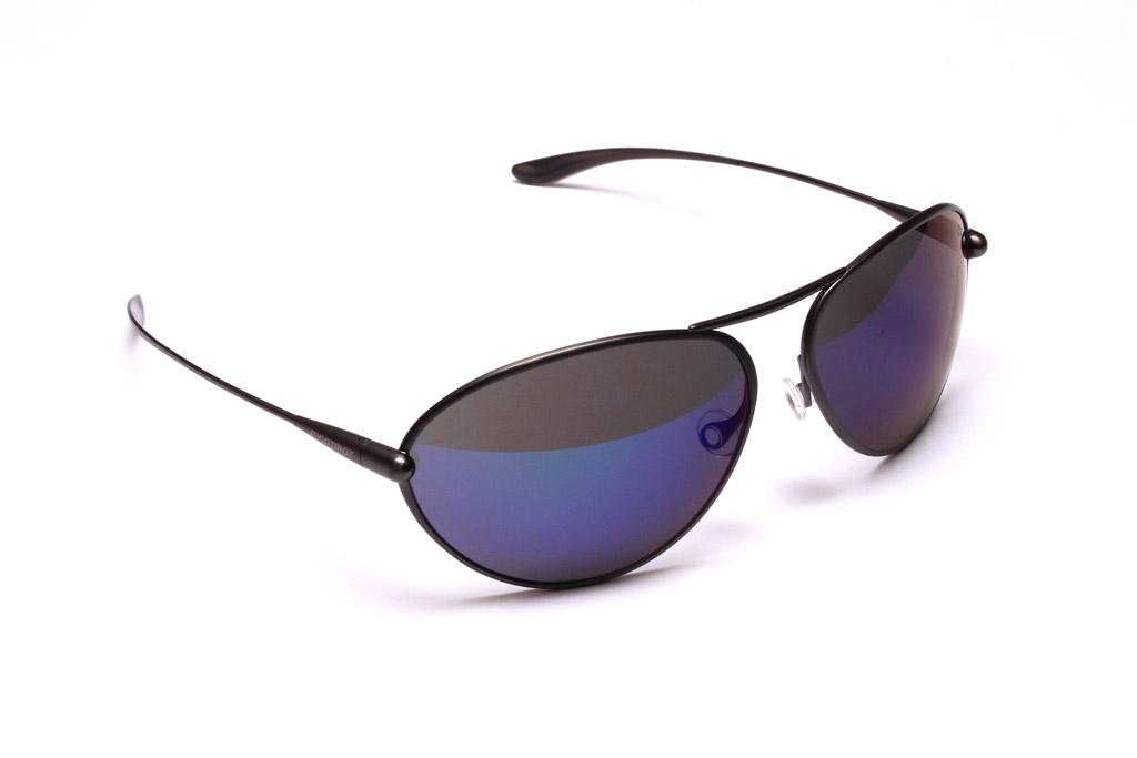Tropo - Gunmetal Titanium Frame Iridescent Blue Mirror Grey High-Contrast Sunglasses
