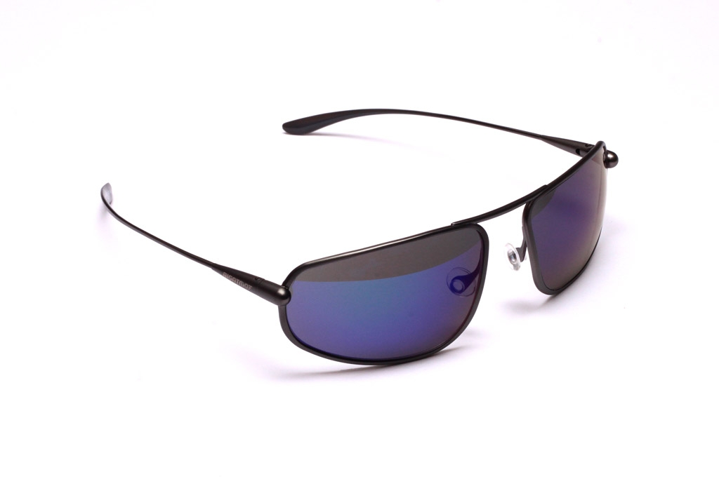 Strato - Gunmetal Titanium Frame Iridescent Blue Mirror Grey High-Contrast Sunglasses
