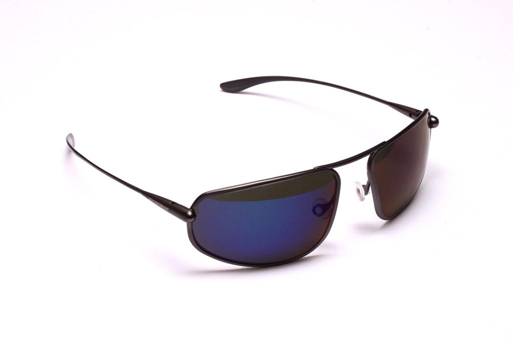 Strato - Gunmetal Titanium Frame Iridescent Blue Mirror Grey Polarized Sunglasses