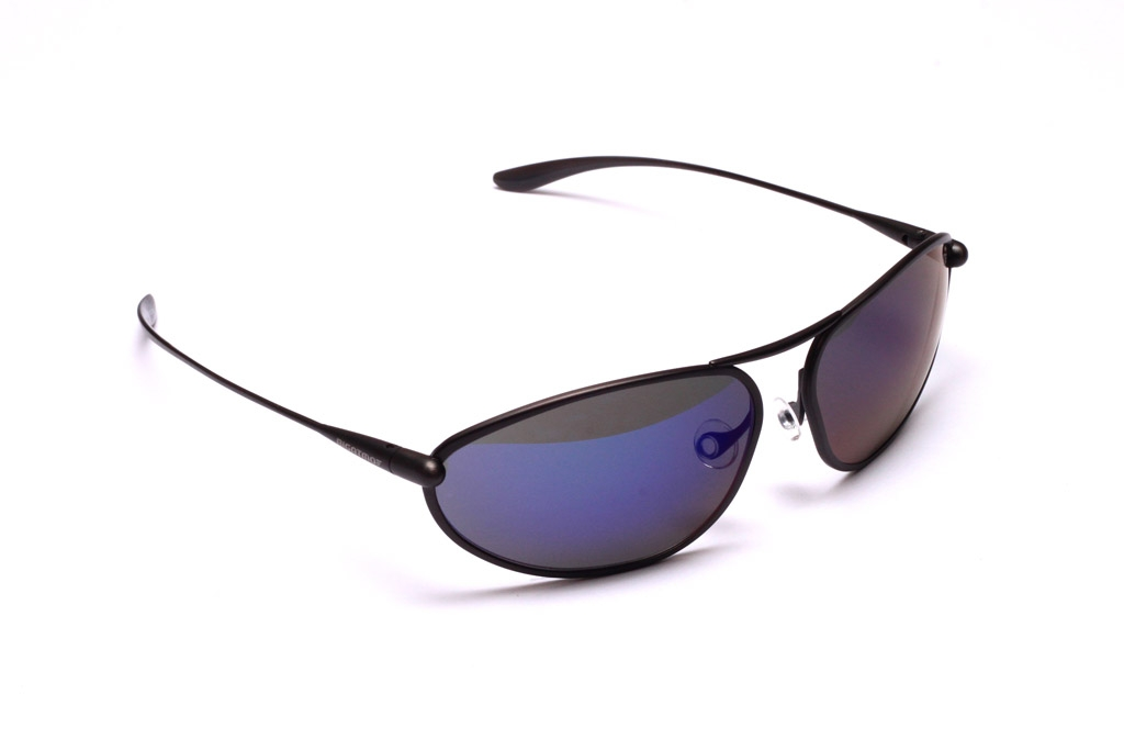 Exo Sunglasses, Graphite Titanium Frame and Zeolite (Grey) HCNB Lenses with an Iridescent Blue Mirror