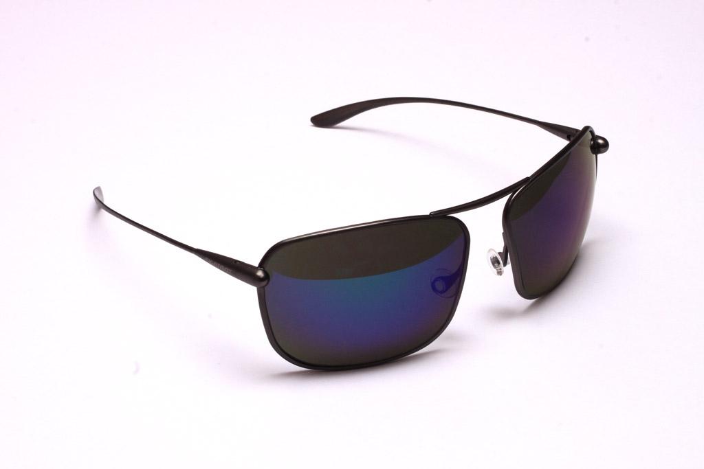 Iono - Gunmetal Titanium Frame Iridescent Blue Mirror Grey Polarized Sunglasses
