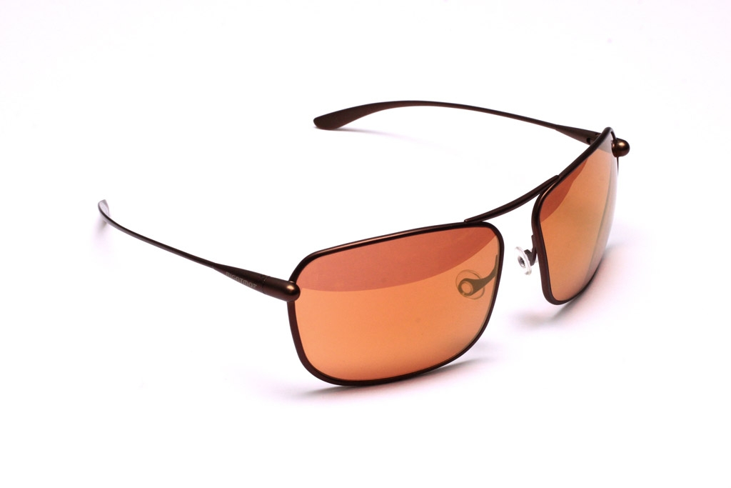 Iono Sunglasses, Brunello Titanium Frame and Alutra (Copper/Brown) Photochromic Lenses with a Gold Mirror