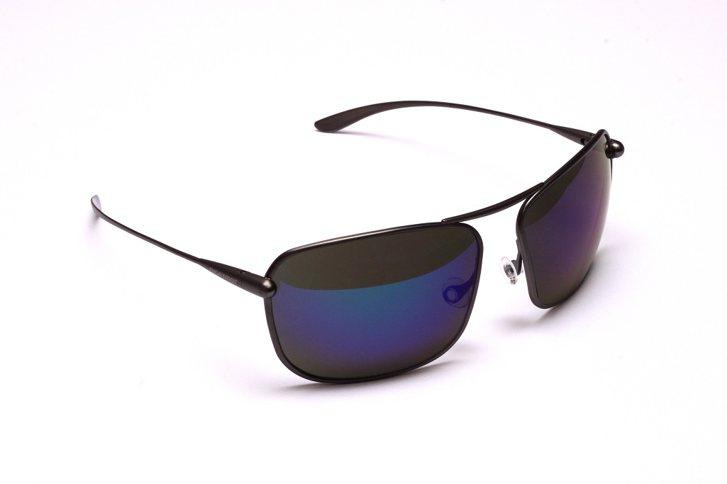 Iono - Gunmetal Titanium Frame Iridescent Blue Mirror Grey High-Contrast Sunglasses