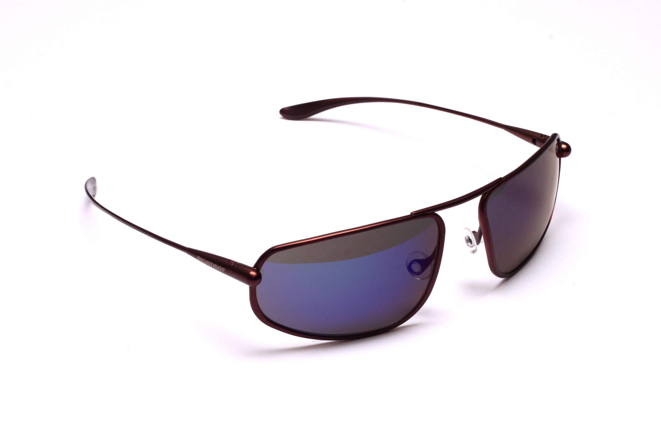 Strato - Brunello Titanium Frame Iridescent Blue Mirror Grey High-Contrast Sunglasses
