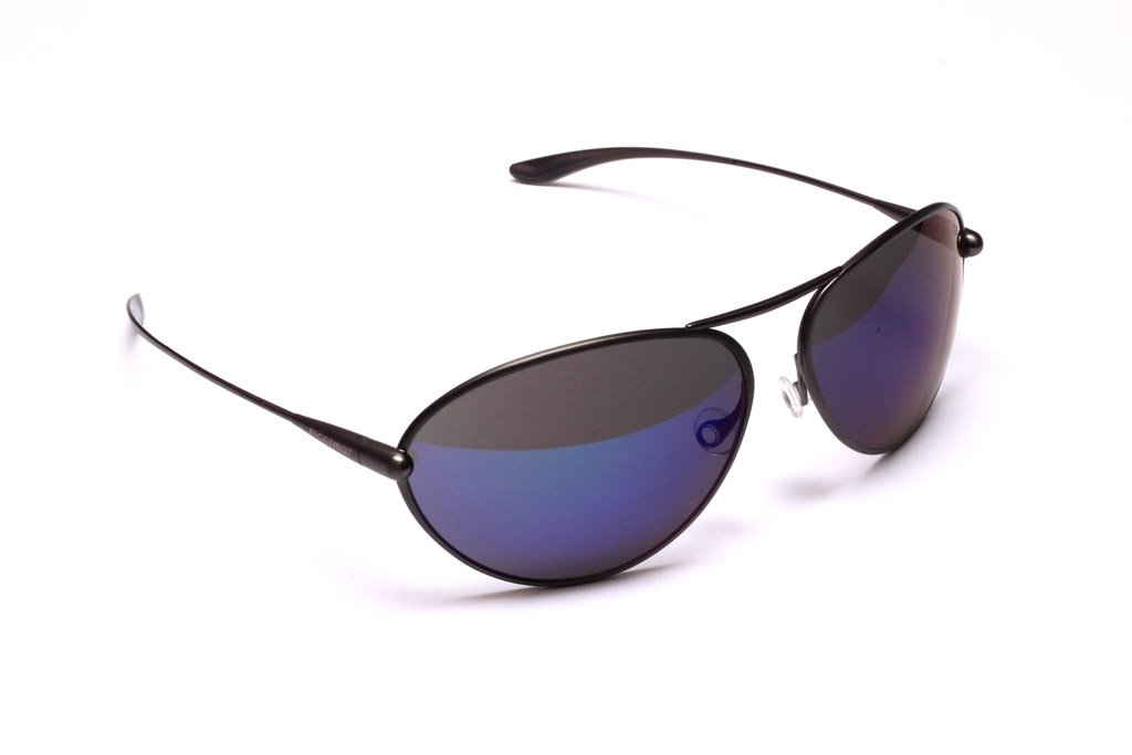 Tropo - Gunmetal Titanium Frame Iridescent Blue Mirror Grey High-Contrast Sunglasses
