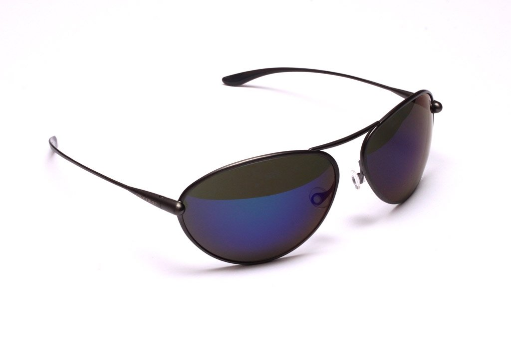 Tropo - Gunmetal Titanium Frame Iridescent Blue Mirror Grey Polarized Sunglasses