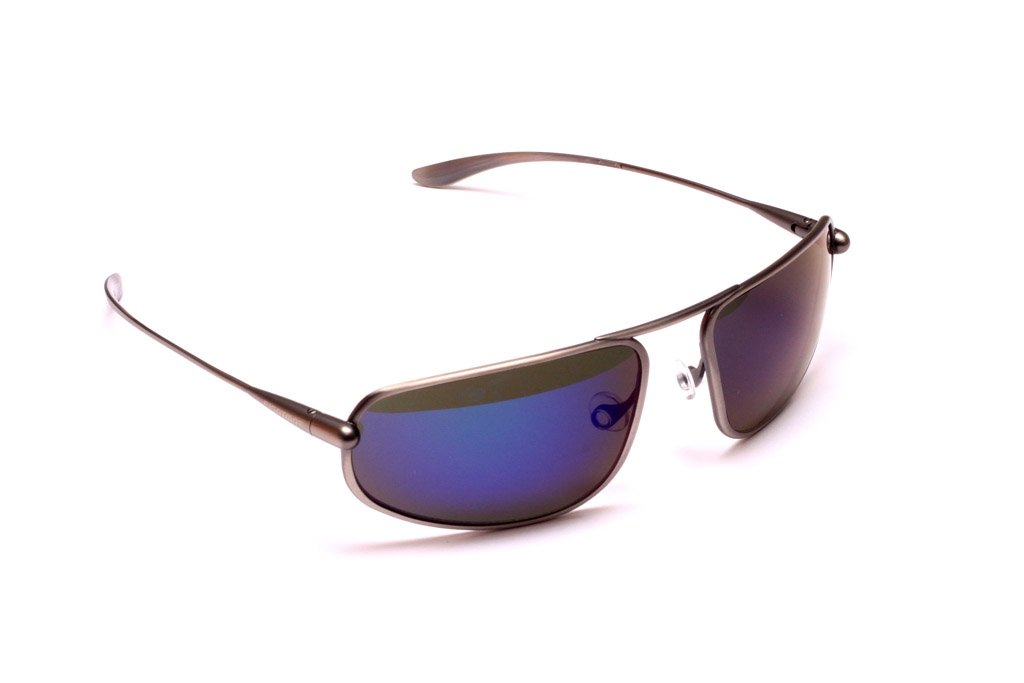 Strato - Natural Titanium Frame Iridescent Blue Mirror Grey High-Contrast Sunglasses