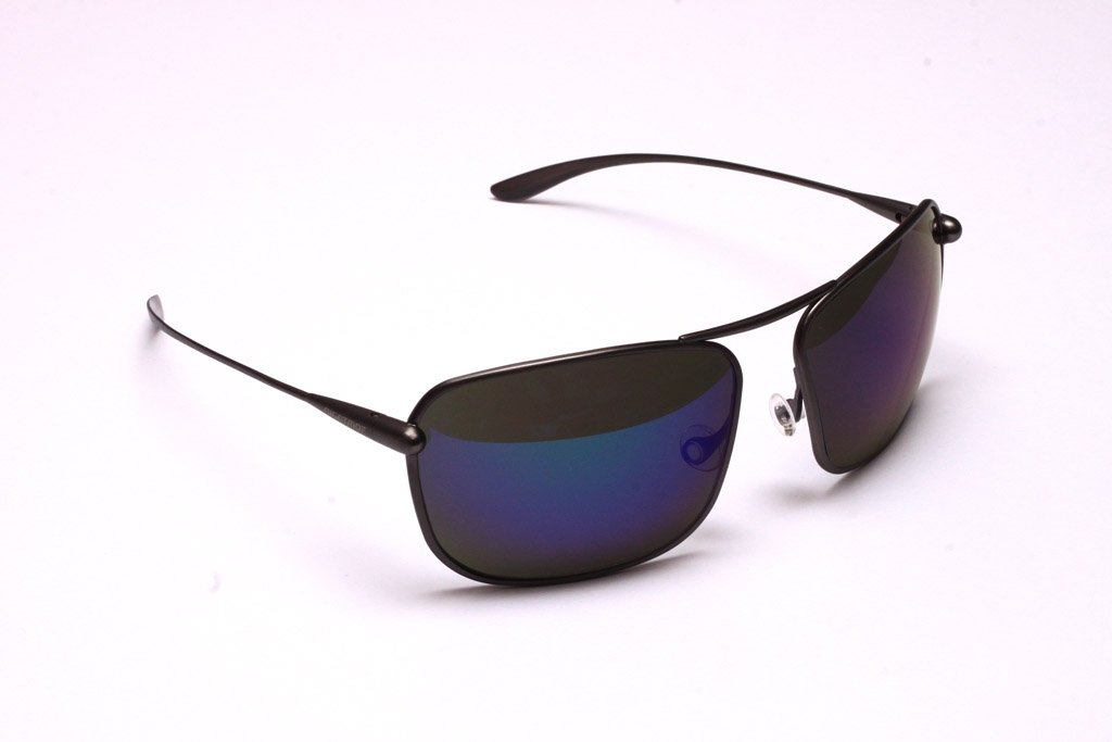 Iono - Gunmetal Titanium Frame Iridescent Blue Mirror Grey Polarized Sunglasses