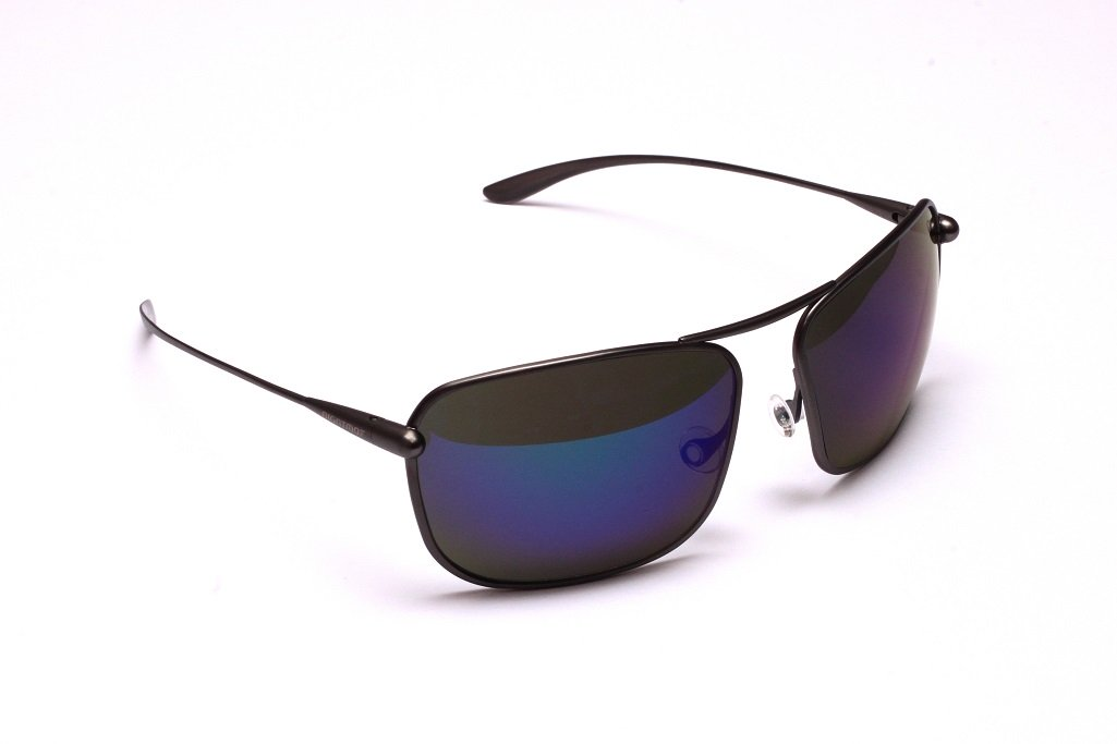 Iono - Gunmetal Titanium Frame Iridescent Blue Mirror Grey High-Contrast Sunglasses