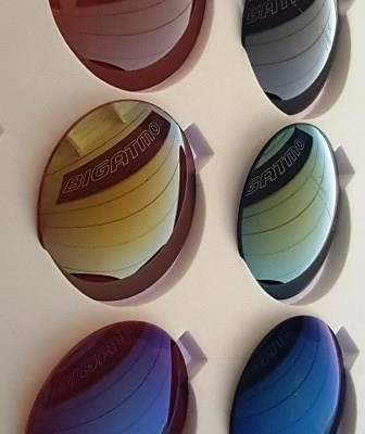 Selection of Bigatmo lenses with various mirror finishes