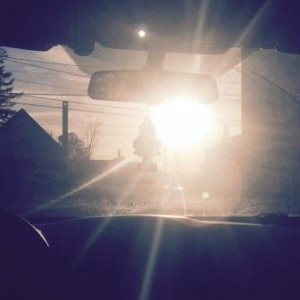 Dazzling glare from the sun on the road ahead
