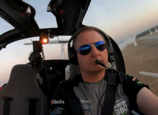 Aerosparx pilot Rob in cockpit wearing Bigatmo sunglasses