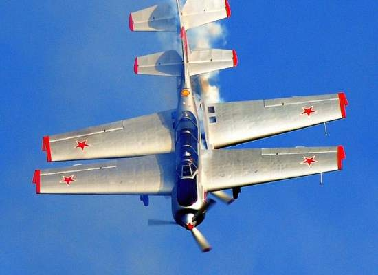 Team Yakovlevs flying close formation