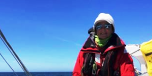 A person sailing wearing sailing gear and Bigatmo sunglasses